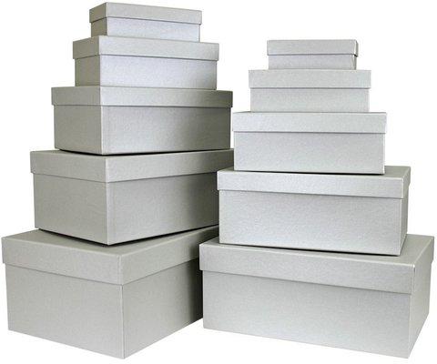 Коробка Серебро, Металлик, 32*20*12 см