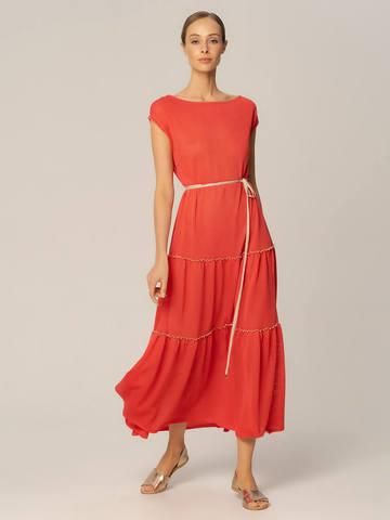 Женское платье кораллового цвета из вискозы - фото 2