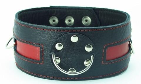 Чёрный кожаный ошейник с красной полосой и кольцами