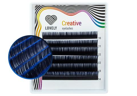 Ресницы двухтоновые синие Lovely MINI - 6 линий - MIX (C 0,10 10-14 мм)