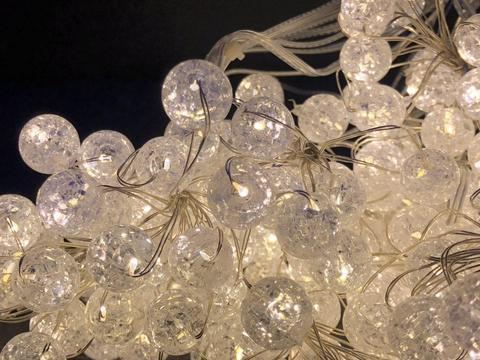 Хвіст-гірлянда на Мідному дроті Скло кулька 200 LED 10 гілок 2 м. тепло-білий