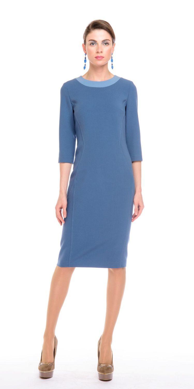Платье З129-516 - Элегантное платье приталенного силуэта. Втачной рукав 3/4 и контрастная окантовка горловины. Вертикальные отстрочки по всей длине, визуально стройнят фигуру. Плотная, пластичная ткань отлично садится на фигуру. В этом платье вы будете неотразимы как в офисе или на деловой встрече, так и на вечернем мероприятии.