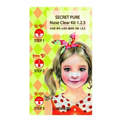 The Saem Secret Pure Nose Clear Kit 1•2•3 трехступенчатые очищающие полоски для носа