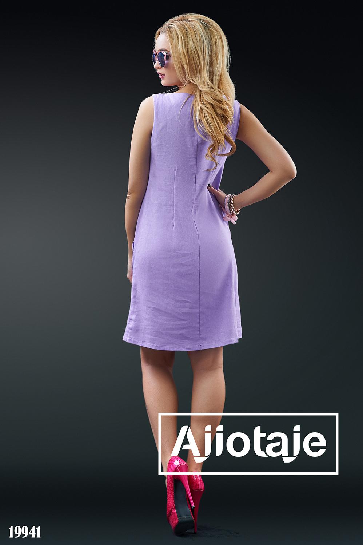 Яркое льняное платье фиалкового цвета