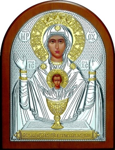 Серебряная с золочением икона Божией Матери Неупиваемая чаша 16х12см