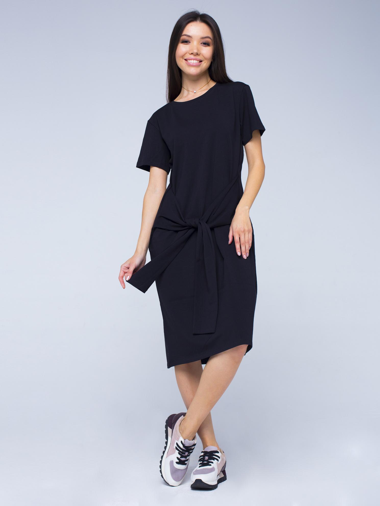 Платье-футболка хлопковое черное YOS