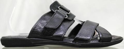 Кожаные босоножки шлепанцы мужские. Черные босоножки шлепки летние ETOR Black 43 размер