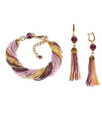 Комплект украшений из бисера золотисто-фиолетовый (серьги из бисера, бисерный браслет)