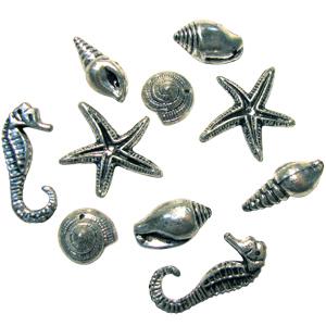 Декоративные подвески Морские серебряные 20шт
