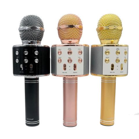 Караоке-микрофон беспроводной WS-858 Розовое золото (Rose Gold)