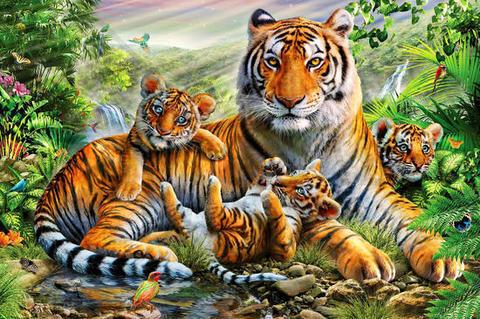 Алмазная Мозаика 40x50 Тигрята и мама (арт.GA71809)