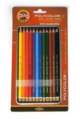 Набор художественных цветных карандашей POLYCOLOR 12 цветов в металлической коробке, защищенной блистером