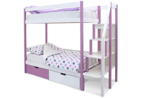 Двухъярусная кровать «Svogen» лаванда-белый