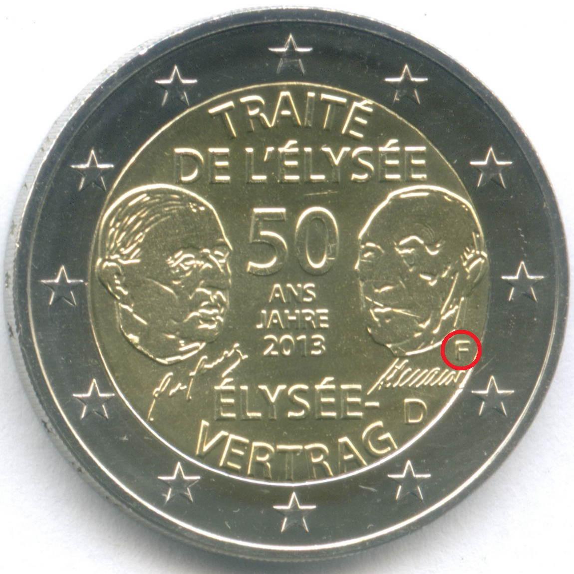 2 евро 2013 год (F). Германия. 50 лет подписания Елисейского договора. Биметалл UNC