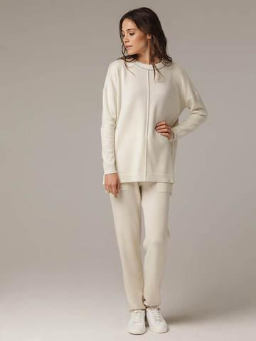 Женский белый джемпер свободного кроя из шерсти и кашемира - фото 5
