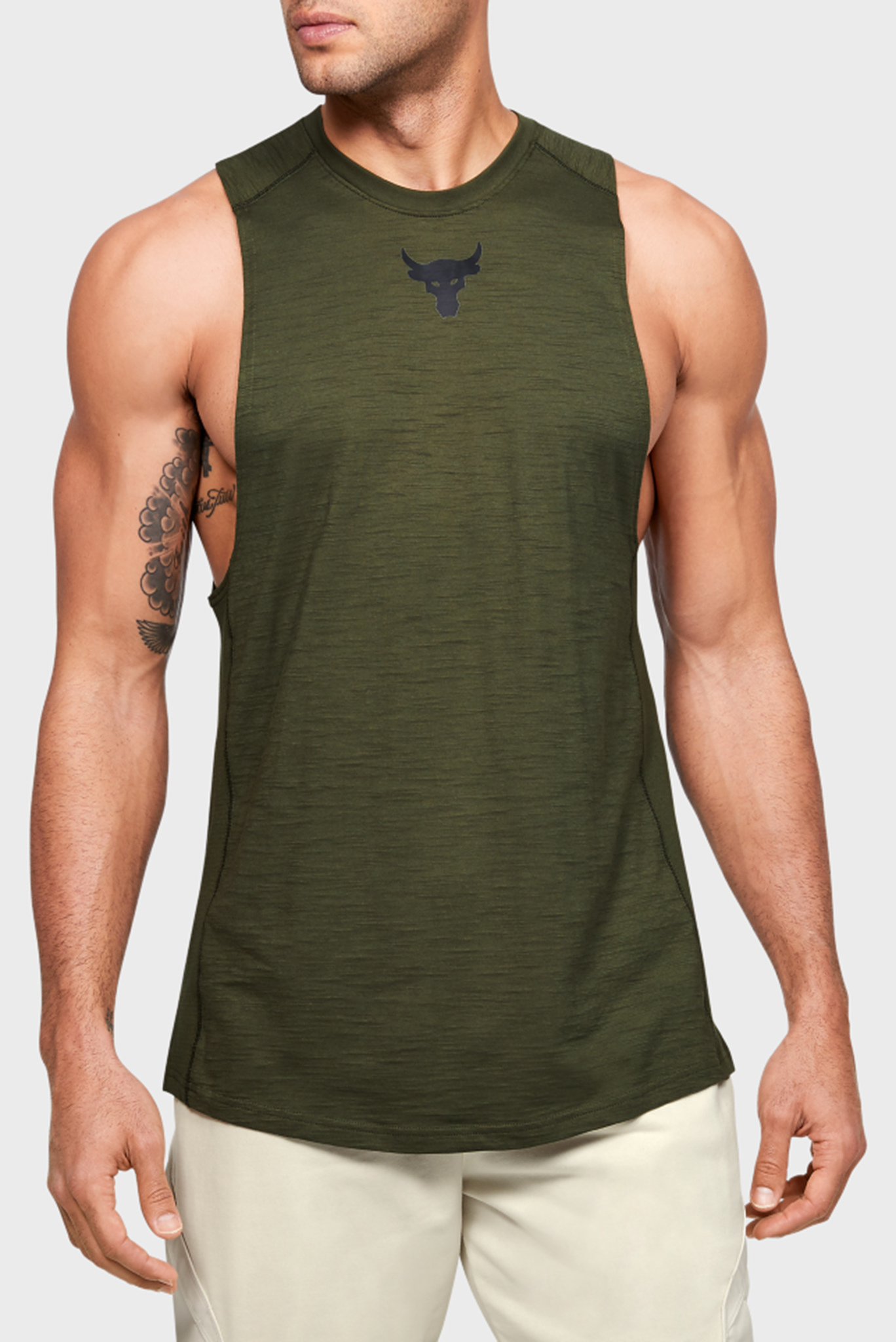Мужская зеленая майка Project Rock Charged Cotton Tank Under Armour