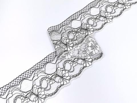Эластичное кружево, 10 см, экрю/черное, (Арт: UEK-0001), м