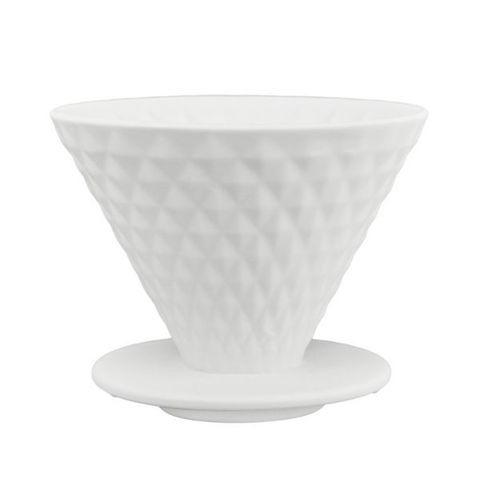 Воронка-дриппер для кофе YAMI Diamond Coffee Dripper V02, белая, на 2-4 чашки