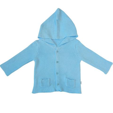 Папитто. Кофточка с капюшоном и карманами, голубой вид 1