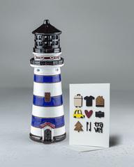 Синий маяк-подсвечник, 26х8 см, с открыткой