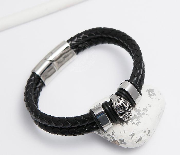 BM478 Мужской браслет из шнуров со стальным черепом (20 см) фото 04