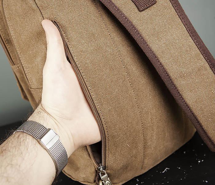BAG394-2 Коричневый городской рюкзак с одной лямкой через плечо фото 09