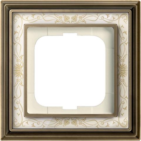 Рамка на 1 пост. Цвет Латунь античная, белая роспись. ABB(АББ). Dynasty(Династия). 1754-0-4590