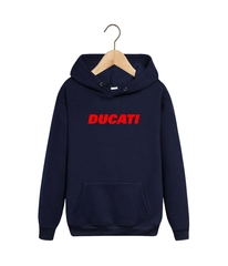 Толстовка темно-синяя с капюшоном (худи, кенгуру) и принтом Дукати (Ducati) 002