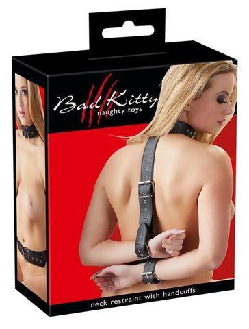 Фиксация на шею и запястья Bad Kitty Neck and Hand Restraints