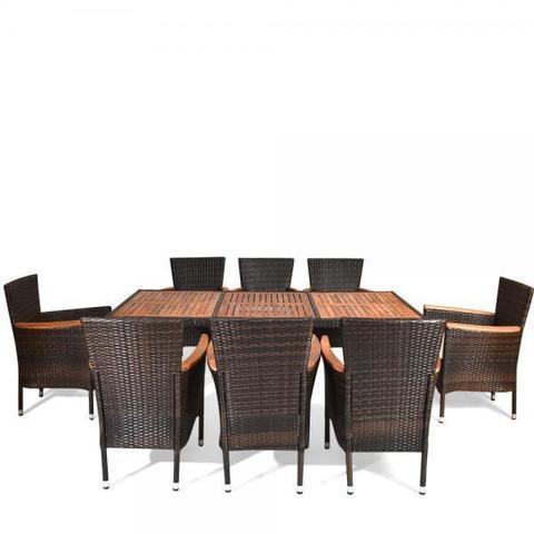 Комплект плетеной мебели AFM-480B 200x90 Brown (8+1) МРК