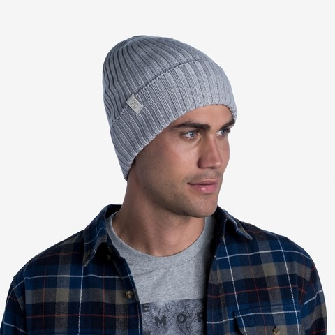 Вязаная шерстяная шапка Buff Hat Wool Knitted Norval Light Grey фото 2