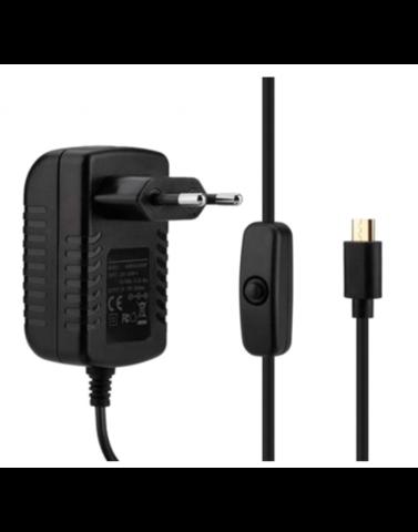 Блок питания для Raspberry Pi 5В, 3А с кабелем MicroUSB с кнопкой