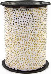 Лента (0,5см*500м) Золотой горошек, Белый, металлик, 1 шт.