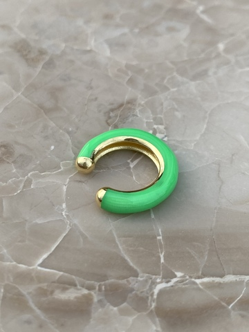 Кафф из позолоченного серебра и зеленой эмали