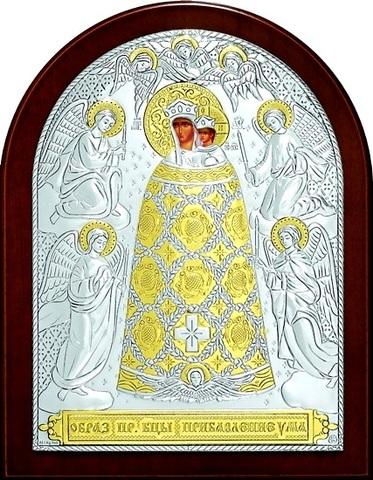 Серебряная с золочением икона Божией Матери Прибавление ума 16х12см