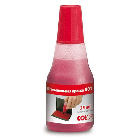 Краска штемпельная Colop 801 красная на водно-глицериновой основе 25 г