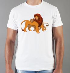 Футболка с принтом мультфильма Король лев (The Lion King, Симба, Нала) белая 0010