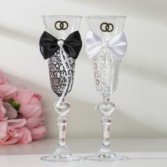 Набор свадебных бокалов «Бант», чёрно-белый, фото 4