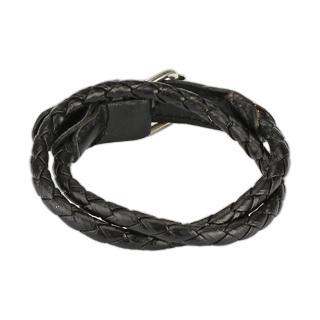Стильный чёрный мужской браслет на два оборота из плетёной кожи SPIKES SL0131-K