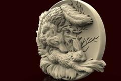 Силиконовый молд  Лиса с зайцем (медальон)  № 0469