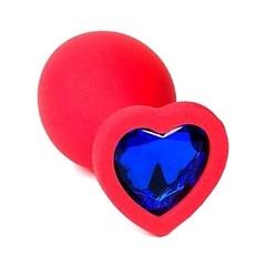 Силиконовая красная анальная пробка с синим кристаллом в форме сердца