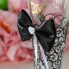 Набор свадебных бокалов «Бант», чёрно-белый, фото 5