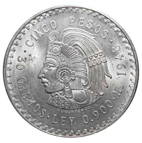 5 песо. Мексика. Последний вождь ацтеков Куаутемок. 1948 год. Серебро. AU