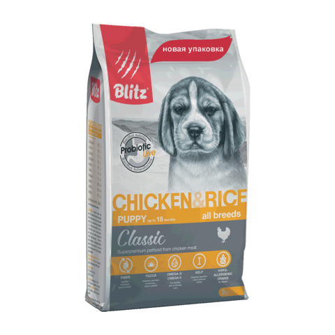 Blitz Сухой корм для щенков всех пород с курицей и рисом