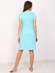 Мамаландия. Сорочка для беременных и кормящих с кнопками короткий рукав, звезды/голубой вид 3