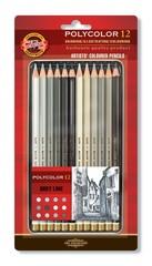 Набор художественных цветных карандашей POLYCOLOR GRAY LINE 12 цветов в металлической коробке, защищенной блистером