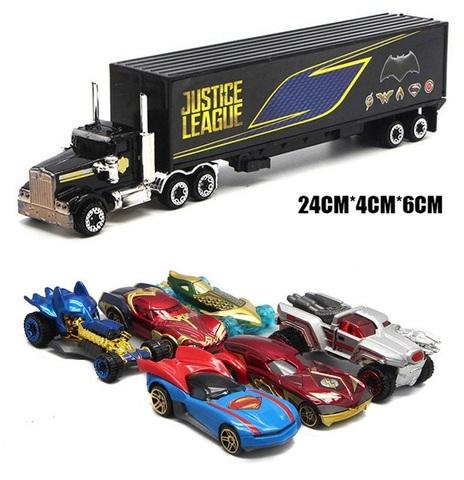 Лига Справедливости набор машинки с грузовиком