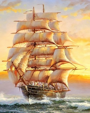 Алмазная Мозаика 50x65 Корабль идет к берегу