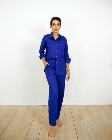 Льняные брюки Синие