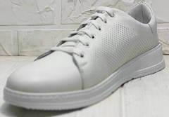 Перфорированные туфли кеды белые женские Evromoda 141-1511 White Leather.